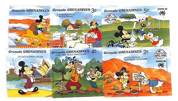1988 Disney Pals at SYDPEX, Mint, Set of 6 Stamps, Grenadines