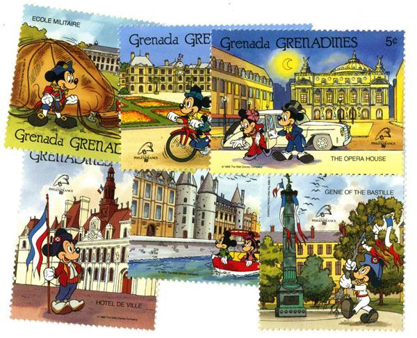 1989 Disney Pals in France - Landmarks, Mint, Set of 6 Stamps, Grenadines