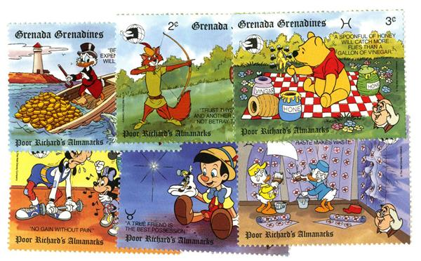 1989 Disney Pals and Poor Richards Almanack, Mint, Set of 6 Stamps, Grenadines