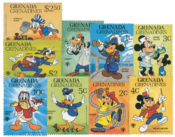 1979 Disney Celebrates The International Year of The Child, Mint, Set of 9 Stamps, Grenada