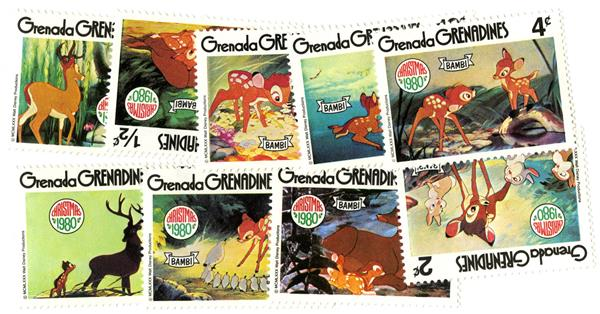 Grenadines 1980 Bambi, 9 Mint Stamps