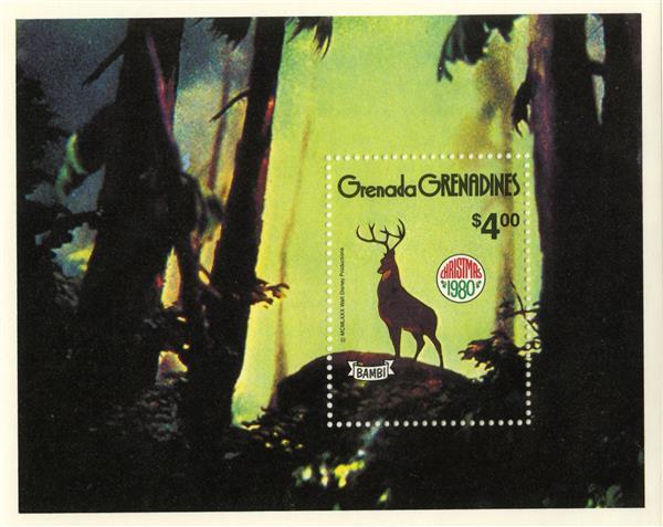 1980 Disney Celebrates Christmas with Bambi, Mint Souvenir Sheet, Grenada Grenadines