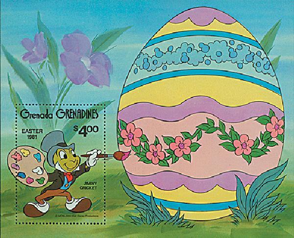 1981 Disney Celebrates Easter, Mint Souvenir Sheet, Grenada Grenadines