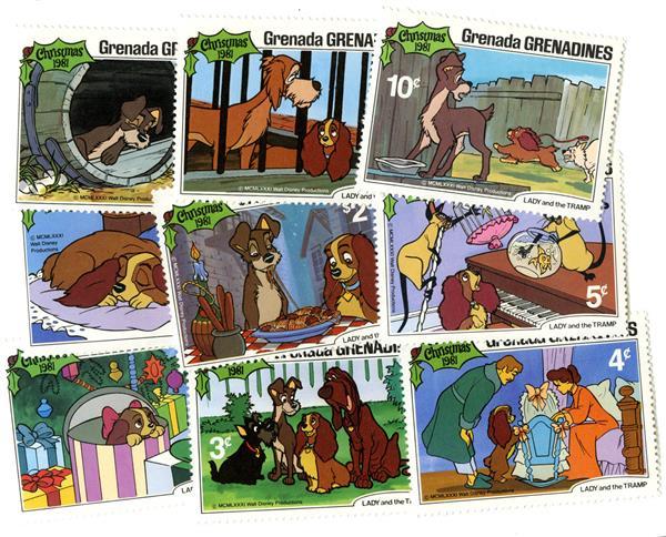 Grenadines 1981 Lady & Tramp, 9 Stamps