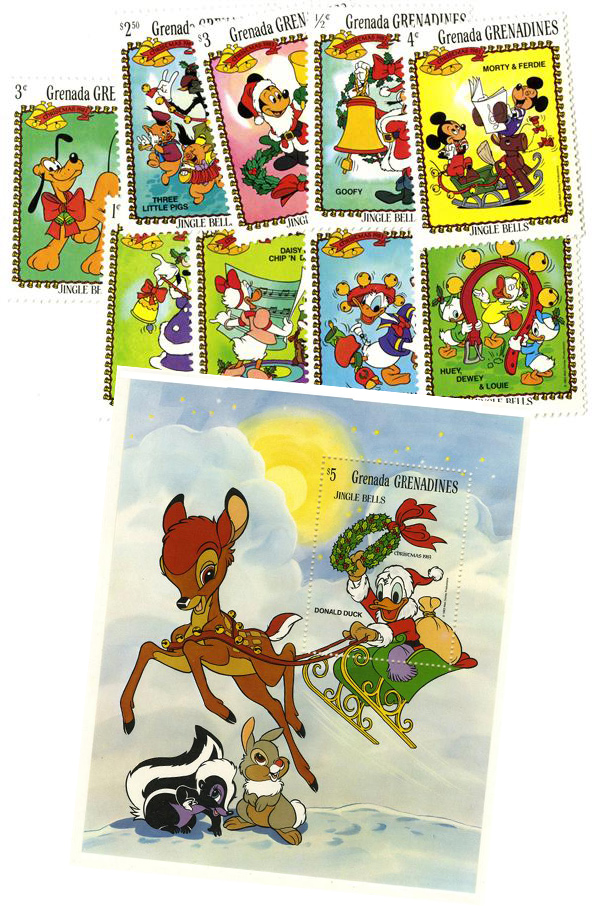 1983 Disney & Friends Celebrate A Jingle Bells Christmas, Mint, Set of 9 Stamps and Souvenir Sheet, Grenada Grenadines