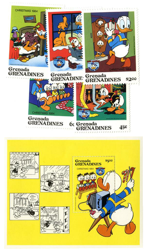 1984 Disney Celebrates Christmas with Donald Duck Movies, Mint, Set of 5 Stamps and Souvenir Sheet, Grenada Grenadines