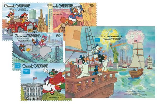 1986 Disney and Friends Commemorate AMERIPEX 86, Mint, Set of 4 Stamps and Souvenir Sheet, Grenada Grenadines