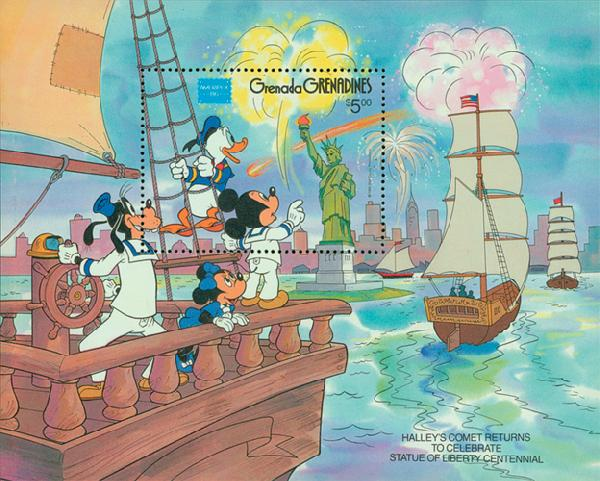 1986 Disney and Friends Commemorate AMERIPEX 86, Mint Souvenir Sheet, Grenada Grenadines