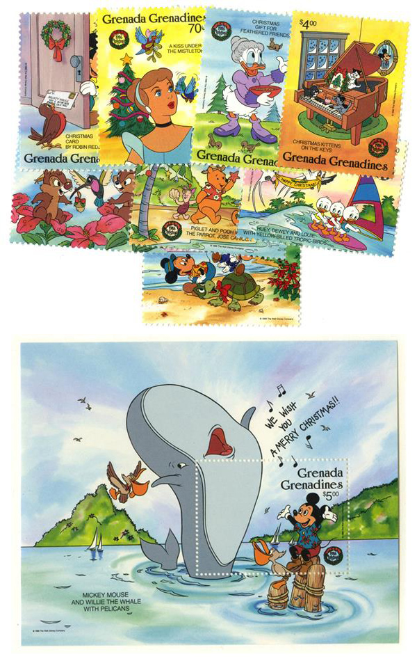 1986 Disney and Friends Celebrate Christmas, Mint, Set of 8 Stamps and Souvenir Sheet, Grenada Grenadines