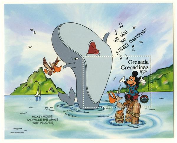 1986 Disney and Friends Celebrate Christmas, Mint Souvenir Sheet, Grenada Grenadines