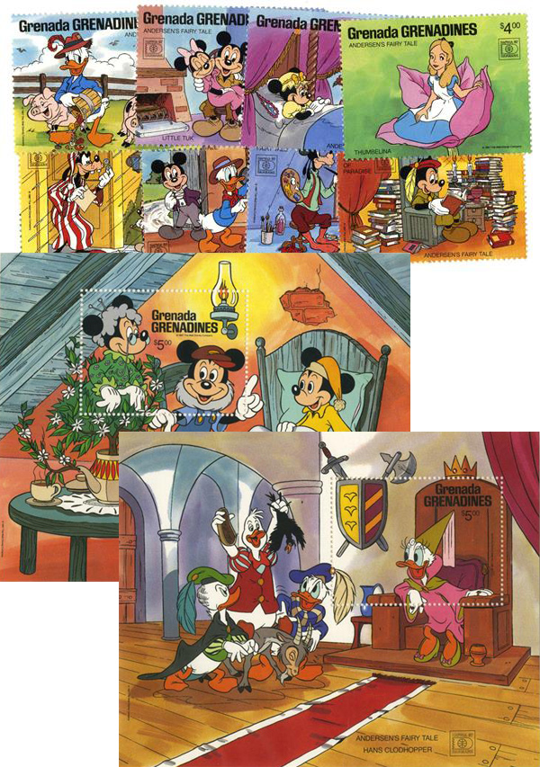 1987 Disney Commeorates HAFNIA 87 with Fairy Tales, Mint, Set of 8 Stamps and 2 Souvenir Sheets, Grenada Grenadines