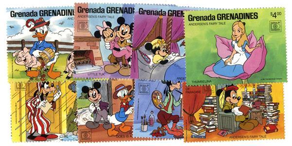 1987 Disney Commeorates HAFNIA 87 with Fairy Tales, Mint, Set of 8 Stamps, Grenada Grenadines