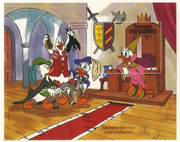 1987 Disney Commeorates HAFNIA 87 with Fairy Tales, Mint Souvenir Sheet, Grenada Grenadines