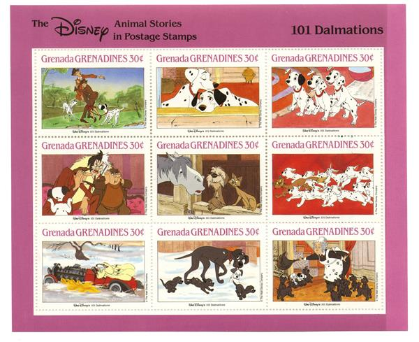 Grenadines 1988 101 Dalmations, 9 Stamps