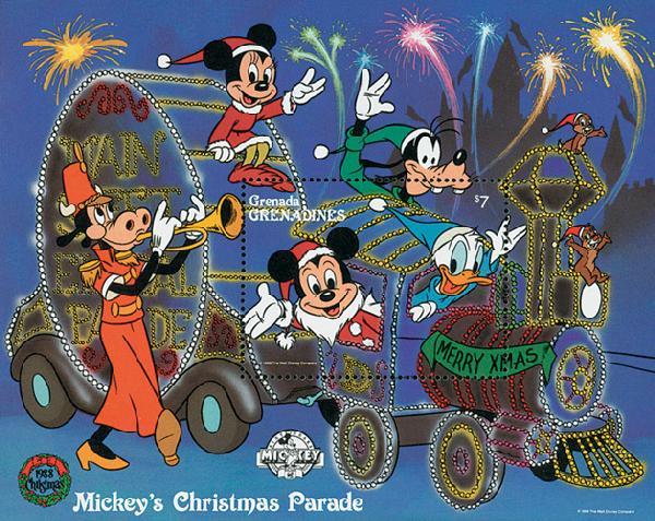 1988 Disney Celebrates Christmas with Mickeys Christmas Parade, Mint Souvenir Sheet, Grenada Grenadines