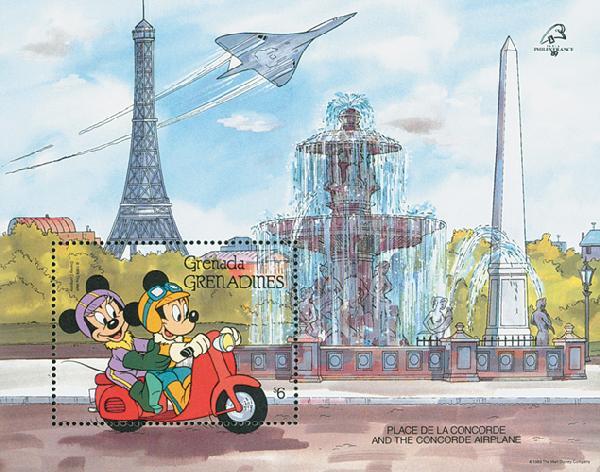 1989 Disney and Friends Commemorate PHILEXFRANCE 89, Mint Souvenir Sheet, Grenada Grenadines