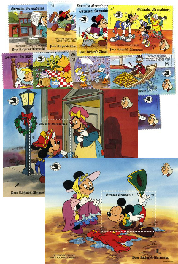 1989 Disney & Friends Commemorate WORLD STAMP EXPO 89, Mint, Set of 10 Stamps and 2 Souvenir Sheets, Grenada Grenadines