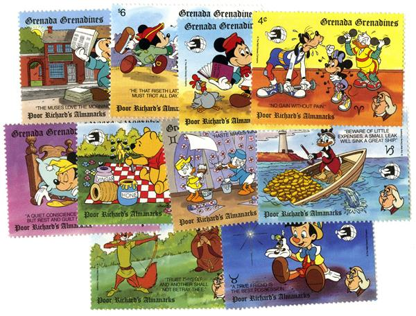 1989 Disney & Friends Commemorate WORLD STAMP EXPO 89, Mint, Set of 10 Stamps, Grenada Grenadines