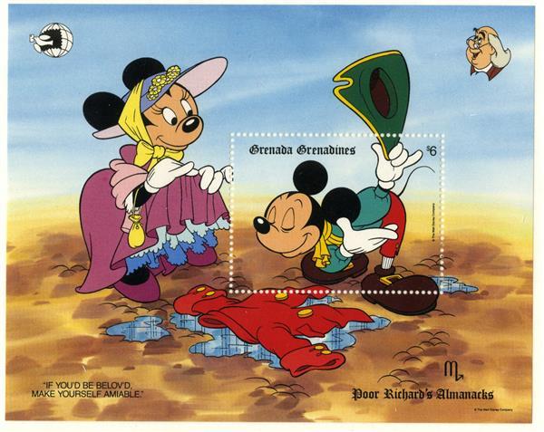 1989 Disney & Friends Commemorate WORLD STAMP EXPO 89, Mint Souvenir Sheet, Grenada Grenadines