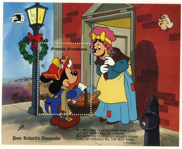 1989 Disney & Friends Commemorate WORLD STAMP EXPO 89, Mint Souvenir Sheets, Grenada Grenadines