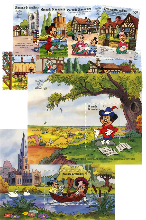 1990 Disney Commemorates STAMP WORLD London, Mint, Set of 8 Stamps and 2 Souvenir Sheets, Grenada Grenadines