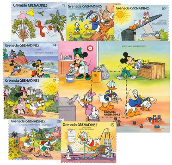 1991 Disney and Friends Help Save the Environment, Mint, Set of 8 Stamps and Souvenir Sheet, Grenada Grenadines