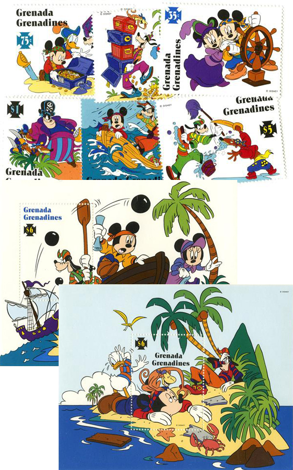 1995 Disney Friends on High Seas Adventure, Mint, Set of 6 Stamps and 2 Souvenir Sheets, Grenada Grenadines