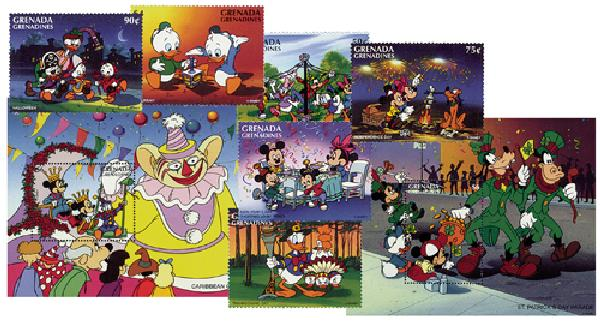 1996 Disney and Friends Celebrate the Holidays, Mint, Set of 6 Stamps and 2 Souvenir Sheets, Grenada Grenadines