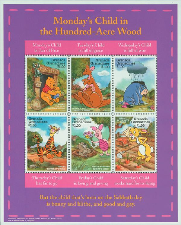 1997 Disneys Winnie the Pooh, Mint, Sheet of 6 Stamps, Grenada Grenadines