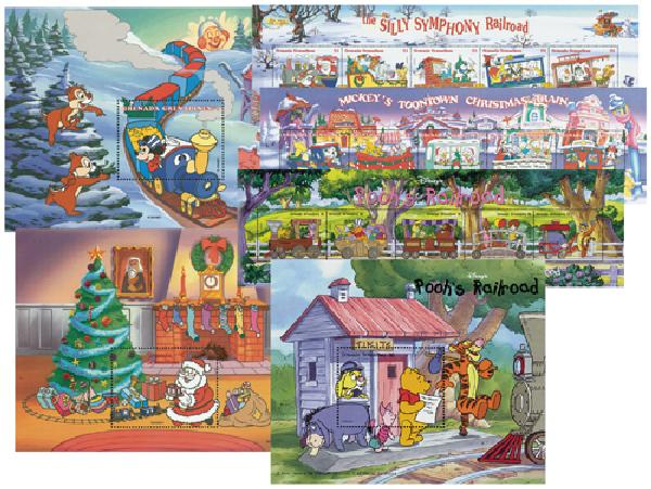 1998 Disney Celebrates Christmas with Trains, Mint, 3 Sheets and 3 Souvenir Sheets