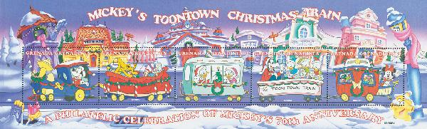 1998 Disney Celebrates Christmas with Trains, Mint, Sheet of 5 Stamps, Grenada Grenadines
