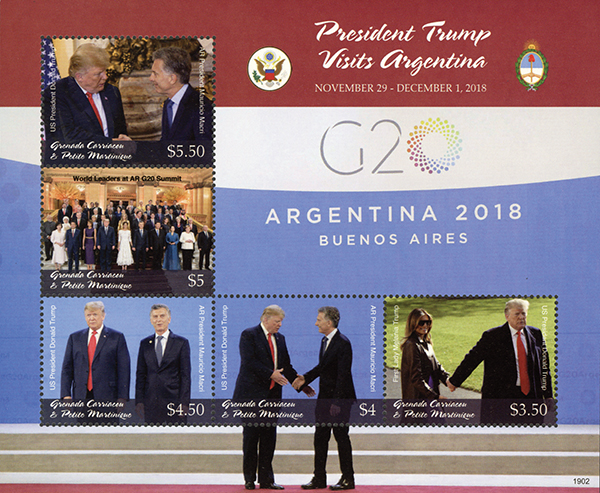 2019 President Trump Visits Argentina, Mint Sheet of 5 Stamps