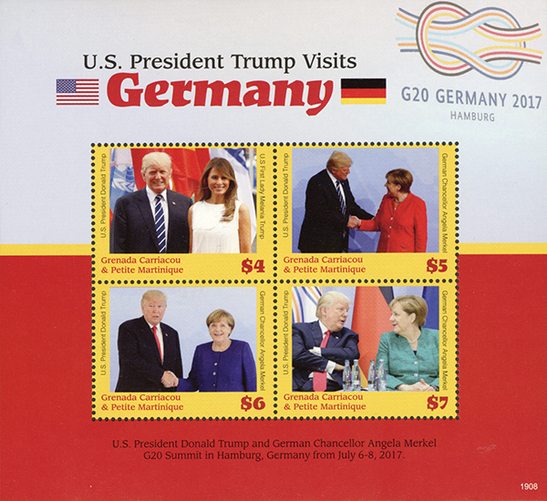 2019 President Trump Visits Germany, Mint Sheet of 4 Stamps