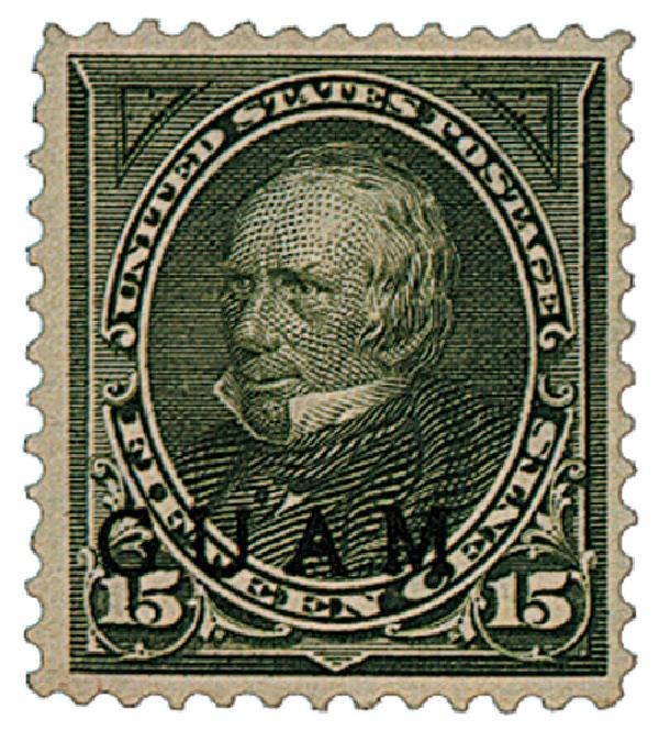 1899 15c Guam, olive green, blk overprnt