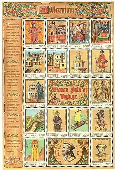 Millennium - Marco Polos Voyage, Mint Sheet of 17 Stamps, Guinea