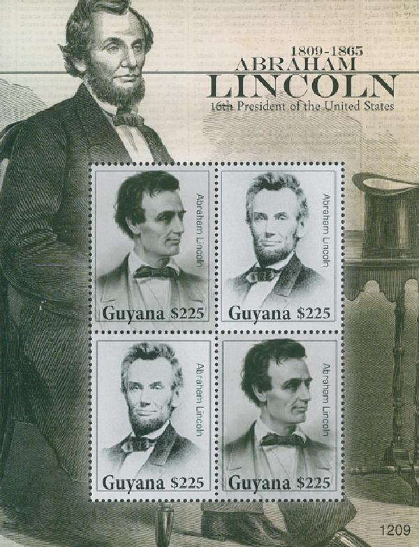 2010 Guyana Abe Lincoln 4v Mint