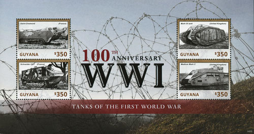 2014 Guyana $350 100th Anniversary of World War I Mint Sheet of 4 Stamps