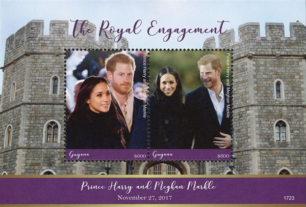 2017 $600 The Royal Engagement of Prince Harry and Meghan Markle souvenir sheet of 2 stamps