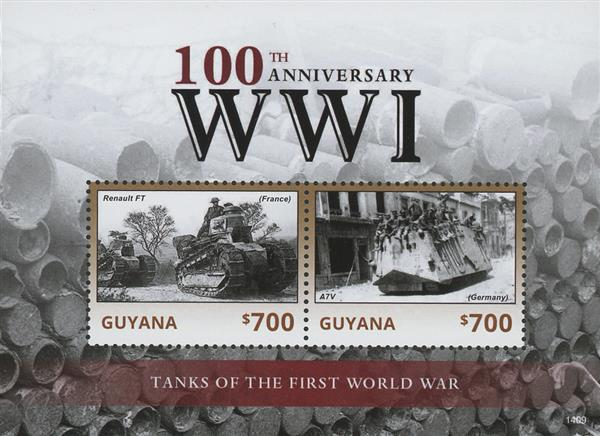 2014 $700 Tanks of the First World War; Souvenir Sheet of 2