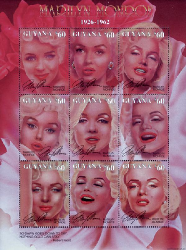 Guyana Marilyn Monroe Sheet of 9