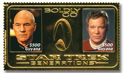 $500 Star Trek-Kirk & Picard,Gold Foil