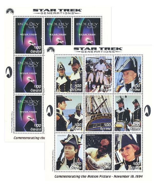 1994 Star Trek Generations, Mint, 3 Sheets and 1 Souvenir Sheet, Guyana