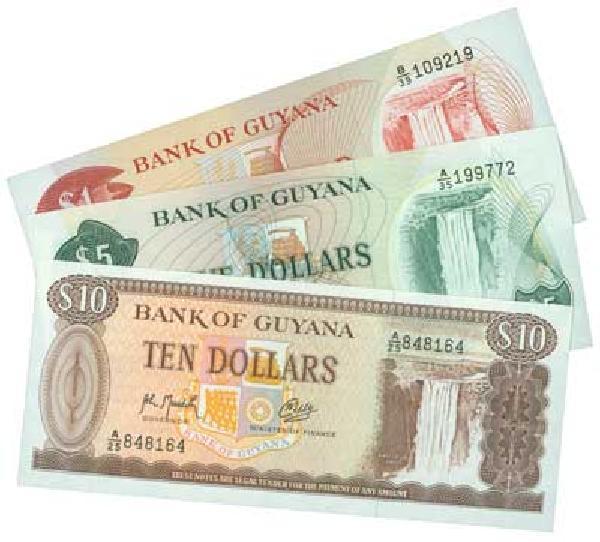 3 Guyana Banknotes
