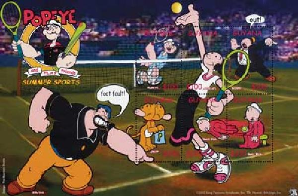 2002 Guyana Popeye&Friends Tennis,shlt/6