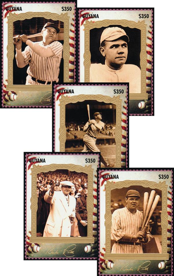 Official Baseball Stamp Cards; Babe Ruth, 12v
