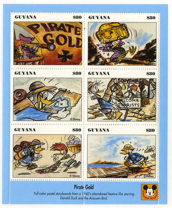 1993 Disneys Vintage Donald Duck Movie Posters, Mint Sheet of 8 Stamps, Guyana