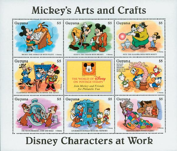 1995 Disneys Characters At Work - Mickeys Arts and Crafts, Mint Sheet of 8 Stamps, Guyana
