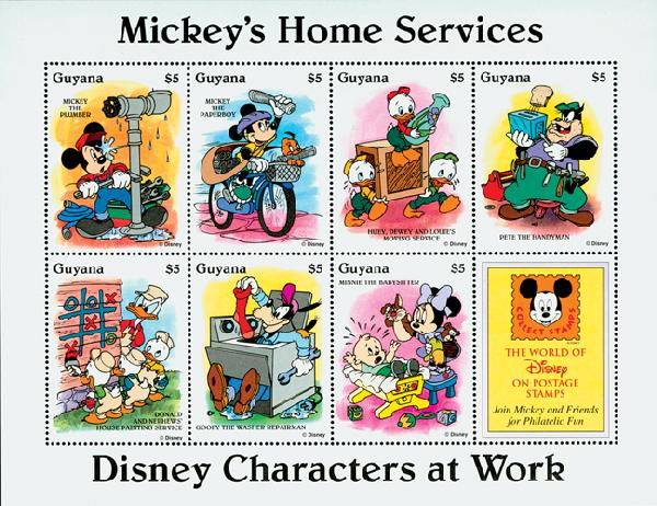 1995 Disneys Characters At Work - Mickeys Home Services, Mint Sheet of 8 Stamps, Guyana
