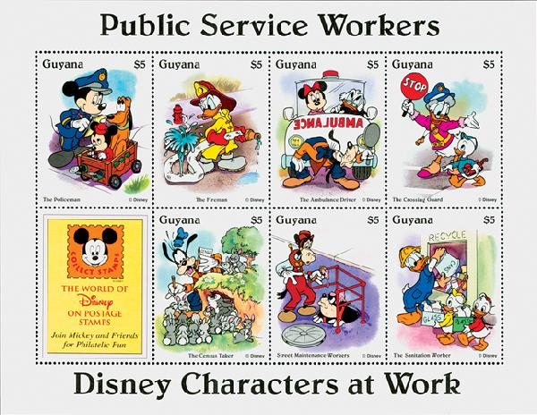 1995 Disneys Characters At Work - Public Service Workers, Mint Sheet of 8 Stamps, Guyana