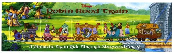 1998 Disneys Robin Hood Train - Ride Through Sherwood Forrest, Mint Sheet of 5 Stamps, Guyana